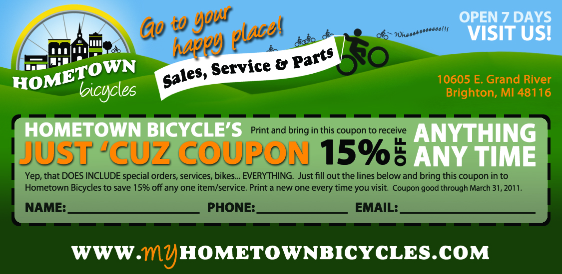 Hometown Bicycles Just 'Cuz 15% Off Coupon
